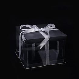 Коробка под торт черная (с дефектом) 22 * 22 * 16см