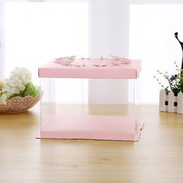 Коробка под торт розовая Бабочки 30,5 * 30,5 * 18см