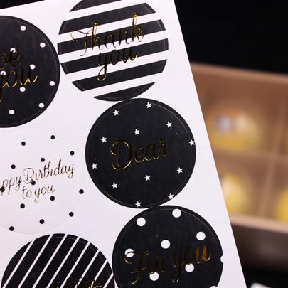 Наклейки круглые черно-золотые 6шт 4,5 * 4,5см