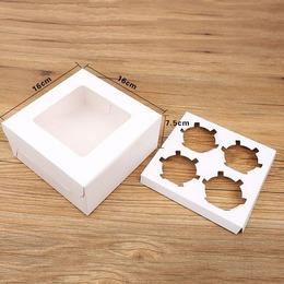 Коробка с вкладкой на 4 кекса 16 * 16 * 7,5см