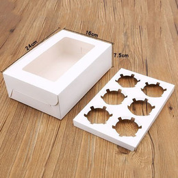 Коробка с вкладкой на 6 кексов 24 * 15,5 * 7,5см