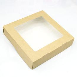 Коробка крафт квадратная с окном 20 * 20 * 4см