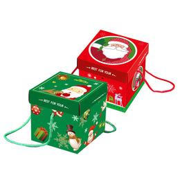 Коробка с ручкой Санта 10 * 10 * 10см