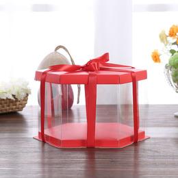 Коробка под торт шестиугольная красная 22 * 22 * 16см