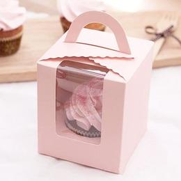 Розовая коробка на 1 кекс с окном 11 * 9,5 * 9,5см