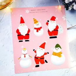 Наклейки Новогодние Дед Мороз 6шт 15 * 17см
