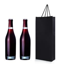 Пакет для вина черный на 2 бутылки 35 * 17,5 * 8см