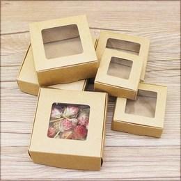 Коробка крафт с окном маленькая 7,5 * 7,5 * 3см