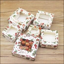 Коробка Рождество с окном средняя 9,5 * 9,5 * 3см