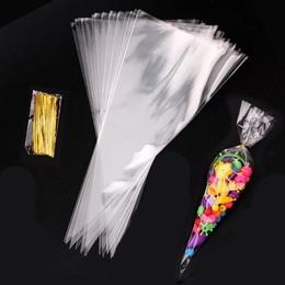 Пакеты-конусы с твист-лентой 50шт 25 * 12см