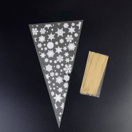 Пакеты-конусы Снежинки 100шт 30 * 16см