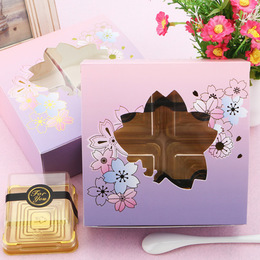 Коробка с окном цветы 14 * 14 * 5см