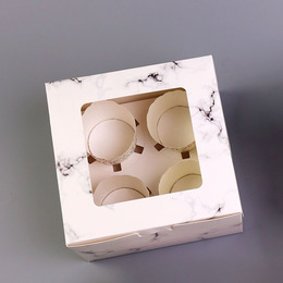Коробка мрамор на 4 кекса 16 * 16 * 7,5см