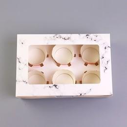 Коробка мрамор на 6 кексов 19 * 16 * 7,5см